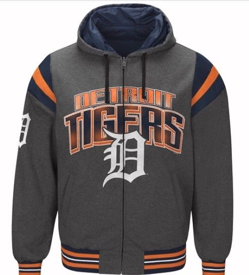 Authentic Detroit Tigers Nylon Reversible Hooded Jacket