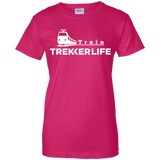 Trekker Life Train Ladies Cotton T-Shirt - Wht