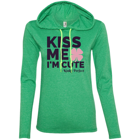 Kiss Me I'm Cute-Pink Shamrock Ladies Long Sleeve T-Shirt Hoodie