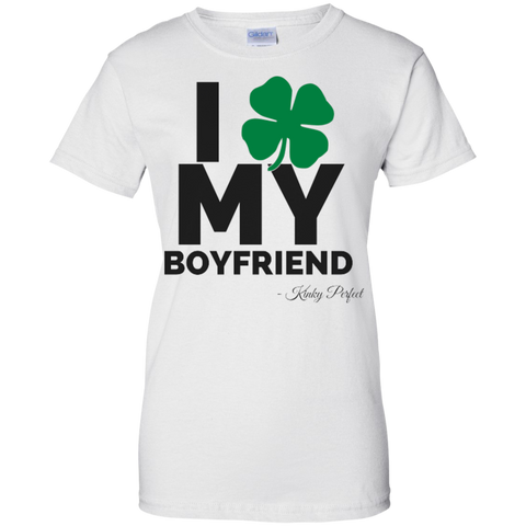I Love My Boyfriend Shamrock Ladies 100% Cotton T-Shirt