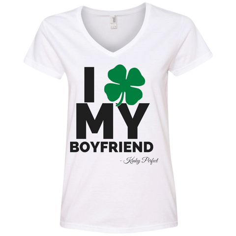 """I Love My Boyfriend"" Ladies' Cotton V-Neck"