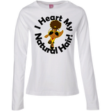 """I Heart My Natural Hair"" Ladies Long Sleeve Cotton T-Shirt 2"