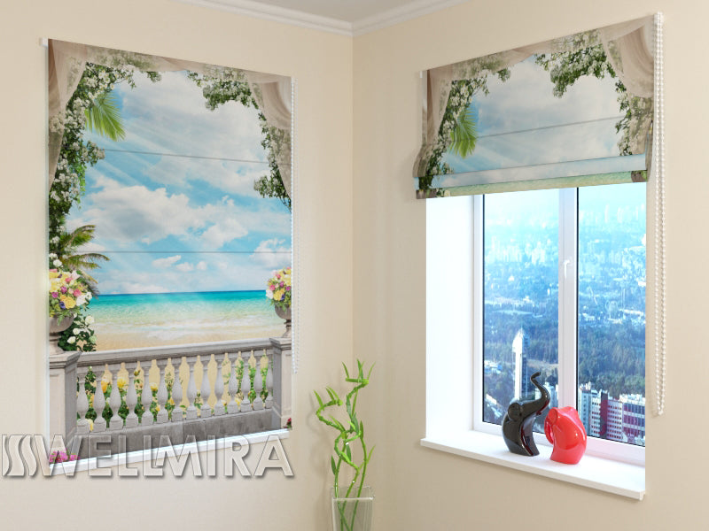 Roman Blind View of the blue sea - Wellmira