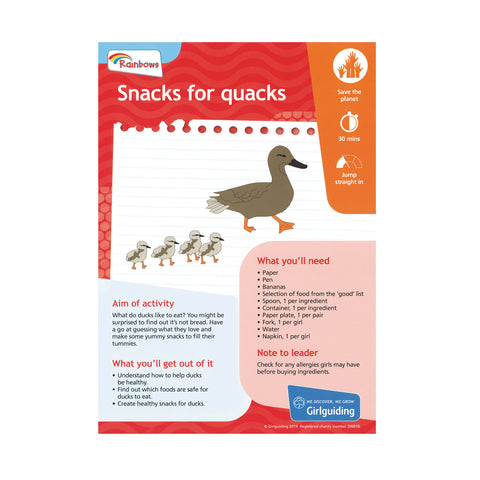 Rainbows - Unit Meeting Activity Pack 5 - Snacks for Quacks
