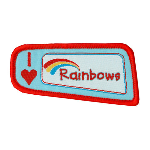 I Love Rainbows Woven Badge