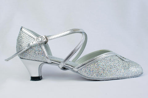 Ann - narrow fitting, sparkly silver ladies' ballroom dance shoes - Kit'n'Heels