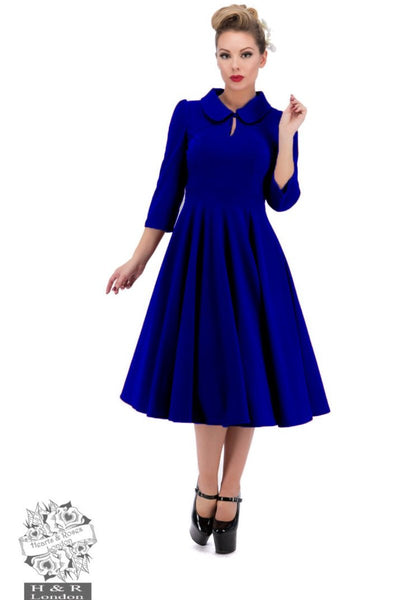 Hearts and Roses Velvet Tea Dress in Royal Blue - Kit'n'Heels