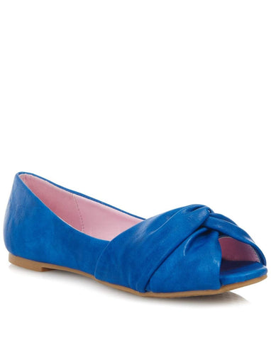 Lulu Hun - Allyn Flats Blue Leatherette Ladies Fashion Shoe - Kit'n'Heels