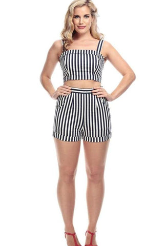 Collectif Ayana Navy & White Striped Shorts - Kit'n'Heels