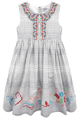 Domino Girl Cleopatra Embroidered and Sequin Girls Dress - Kit'n'Heels