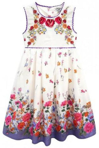 Domino Girl - Little Girl's Embroidered Floral Border Print Summer Dress - Kit'n'Heels