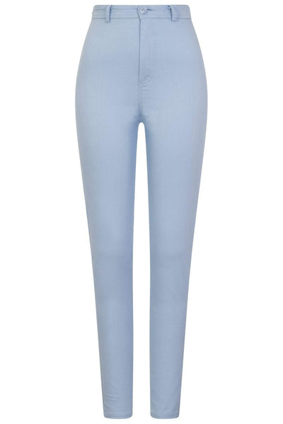 Collectif Maddie Plain Jeans in Pale Blue - Kit'n'Heels