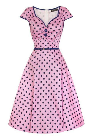 Lady Vintage Isabella Raspberry Polka Dot Sleeveless Tea Dress - Kit'n'Heels