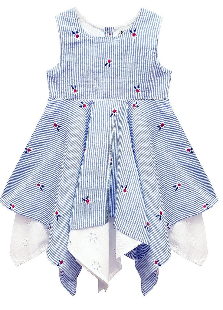 Domino Girl Toddlers Stripe Embroidered Hanky Dress - Kit'n'Heels