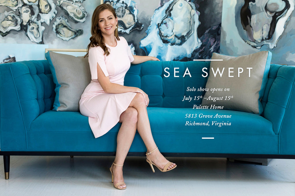 Stephie Jones Palette Home Tosha Tolliver Sea Swept Oyster Paintings Blue Modern Anthropologie Elle Decor