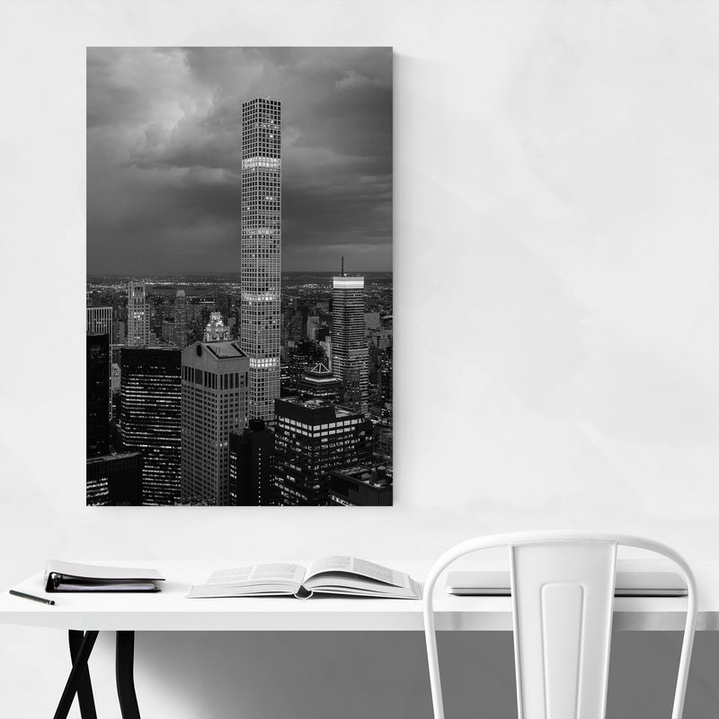 Black White New York City Photo Metal Art Print