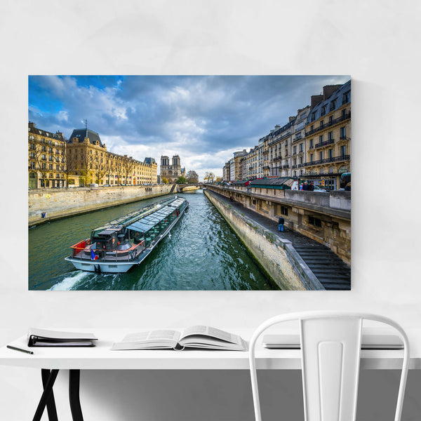 Paris Boat in the Seine River Art Print