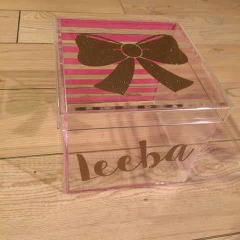 Gold Bow Lucite Box