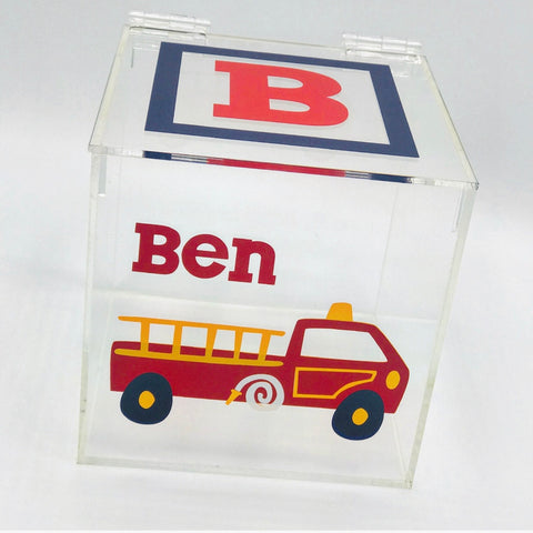 Firetruck and Initial Lucite Box