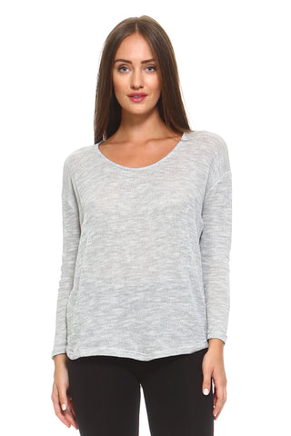 Women's Light Knit Sweater Top With Scoop Neck