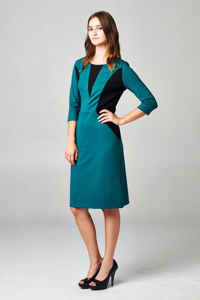 Christine V Ponte Colorblock Sheath Dress - WholesaleClothingDeals - 6