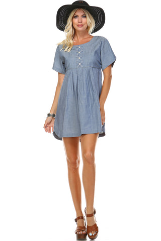 Marcelle Margaux Denim Button-Accent Scoop Neck Dress - WholesaleClothingDeals - 1