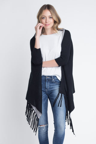 Women's 3/4 Three Quarter Knit Fringe Poncho Sweater