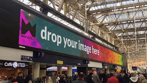 JCDecaux Motion Display Waterloo Station Still Image Mockup