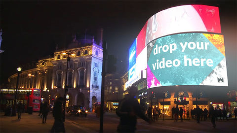London Piccadilly Circus Video Screen at Night Motion Video mockup