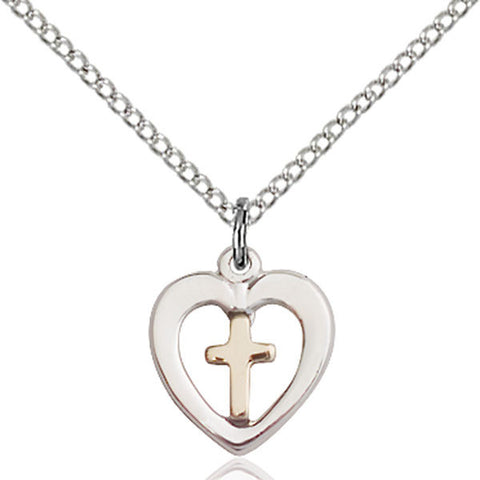 Sterling Silver and Gold Filled Cross in Heart