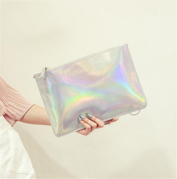 MERMAID Hologram Clutch, silver