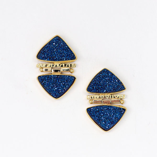 blue-drusy-hinged-22k-18k-14k-gold-post-earrings-Jennifer-Kalled