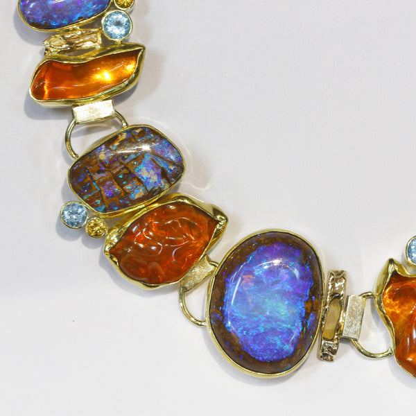purple boulder opal orange mexican opal necklace 22k gold kalled