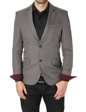 Mens Slim Fit Casual Blazer with Contrast Details Gray (MOD14514B) - MODERNO