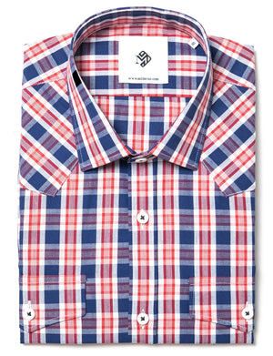 Mens checkered casual shirt slim fit wit 2 pockets blue, red & white (MOD1804LS)