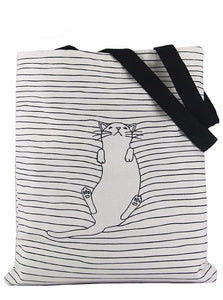 CUTE CAT CANVAS TOTE BAG 2 KOLORY KOREAŃSKI STYL - impaviid