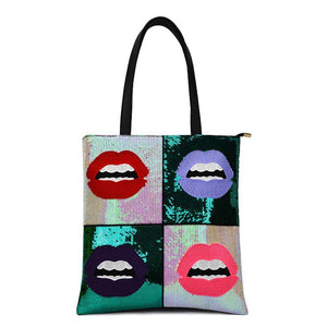 GRAFIKA SEQUINED POP CULTURE TOTE BAG VEGAN LEATHER - impaviid