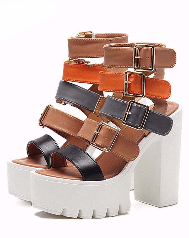 GLADIATOR SANDAŁY BUCKLE STRAP PLATFORMS SQUARE HEEL VEGAN LEATHER SUMMER 2017 - impaviid