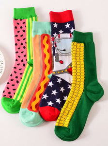 FUNNY SOCKS HOTDOG CORN SPACEMAN WATERMELON - impaviid