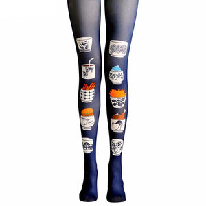 FAST FOOD PRINT TIGHTS HIGH WAISTED - impaviid