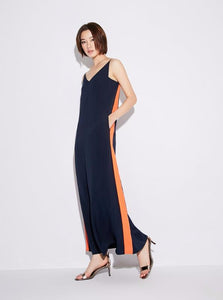 DODATKOWE PATCHWORK SPAGHETTI STRAP ANKLE LONG DRESS - IMPAVIID