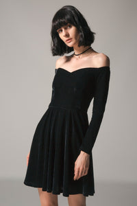 CZARNY VELVET OFF SHOULDER DRESS SIZE: S - XXXL - IMPAVIID