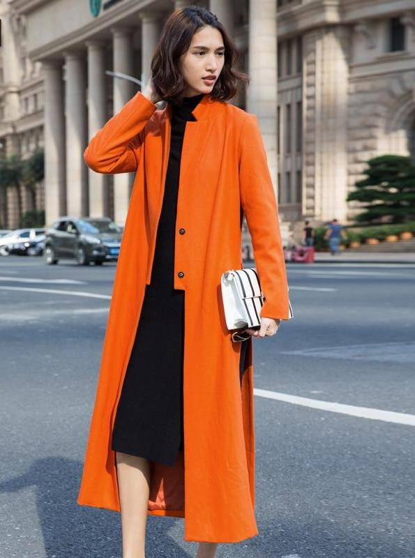 ORANGE LONG OPEN COAT