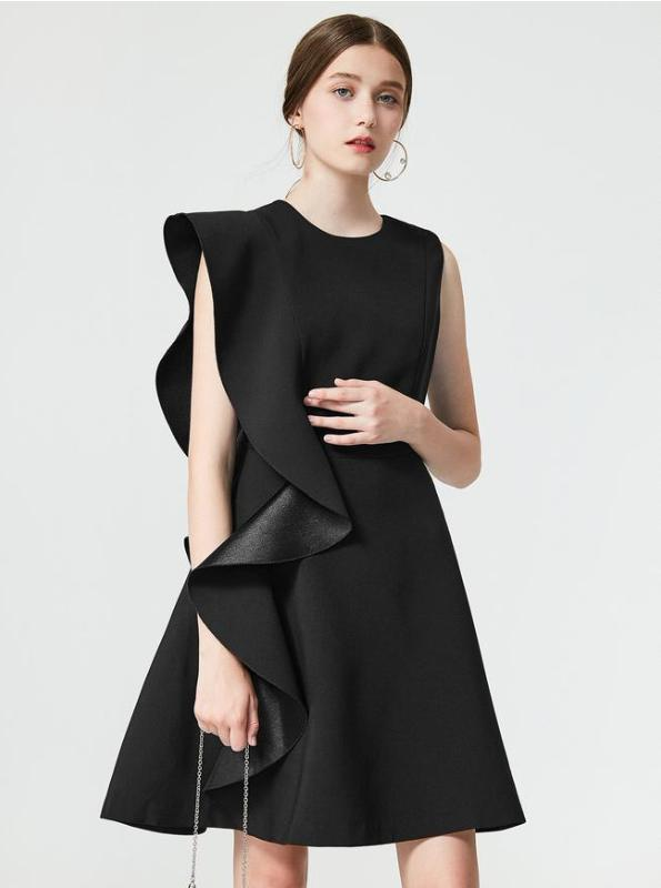 BLACK RUFFLED FORMAL DRESS - IMPAVIID