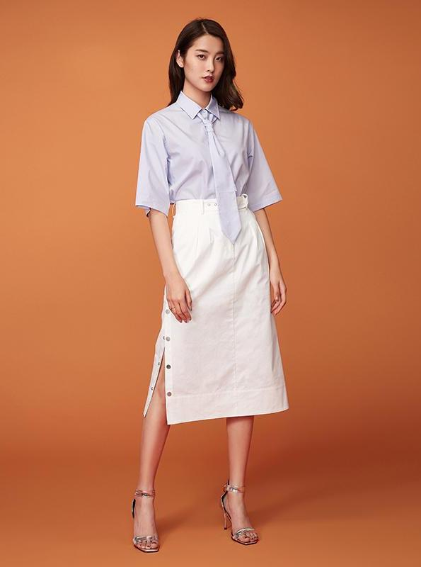 MID CALF SIDE-BUTTONED UP SKIRT - impaviid