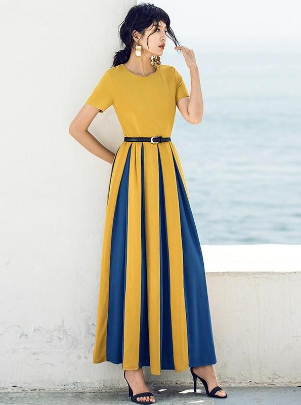 SUKIENKA RETRO COLOR-BLOCK MAXI - impaviid