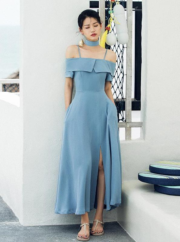 OFF SHOULDER BLUE SUKIENKA RETRO MAXI - impaviid