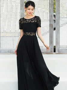 SUKIENKA VINTAGE BLACK LACE SHEER MAXI