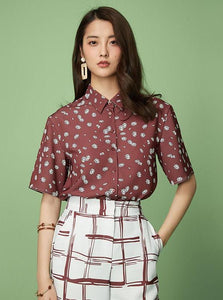 FLORAL BUTTONED UP OFFICE SHIRT - impaviidi