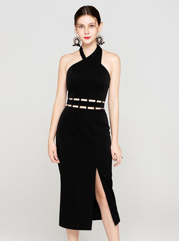 BLACK BACKLESS SUKIENKA HALTER-TOP - IMPAVIID